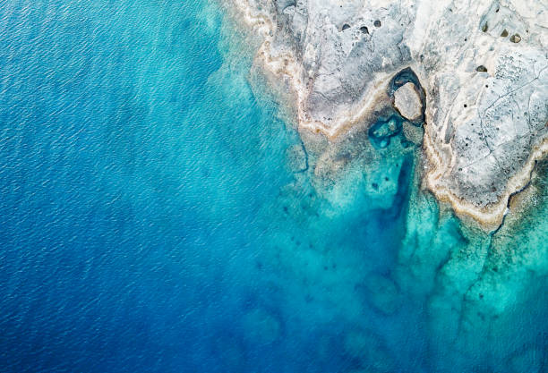 Aerial View of the Sea and Rock Sea, Reef, Rock - Object, Stone - Object, Summer mediterranean sea stock pictures, royalty-free photos & images