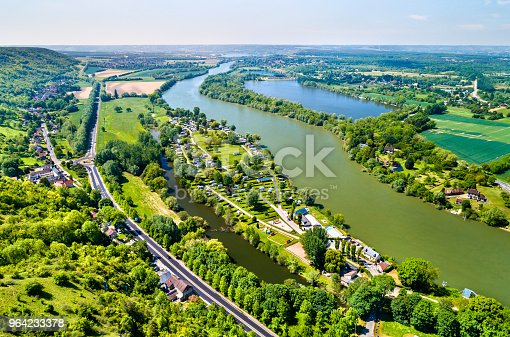 Aerial view of the Seine River in Normandy, France