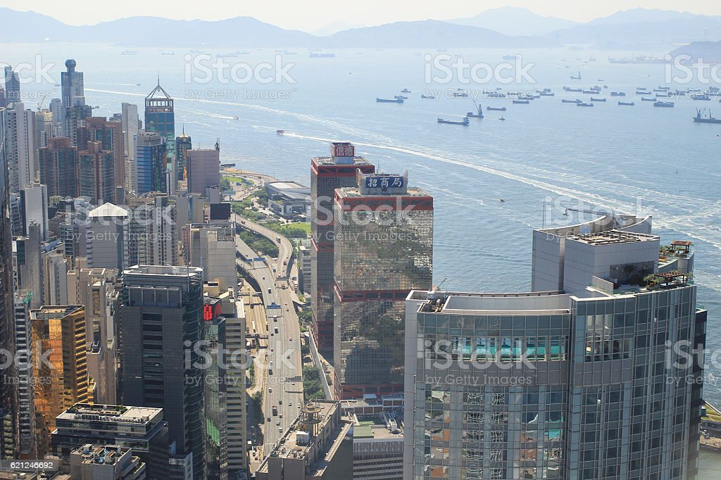 aerial view of the Sheung Wan at IFC圖像檔