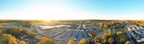 aerial view of the shopping center Schlüterhallen in Freising, Bavaria, Germany stock photo