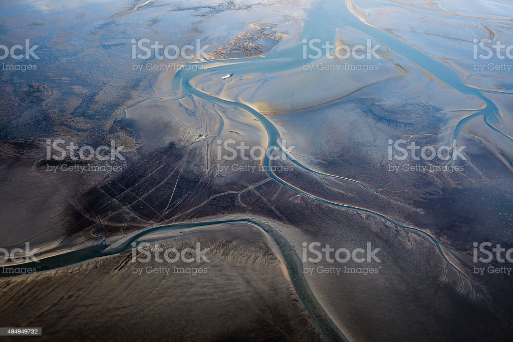 Aerial view of the shore of Ameland Island, The Netherlands stock photo