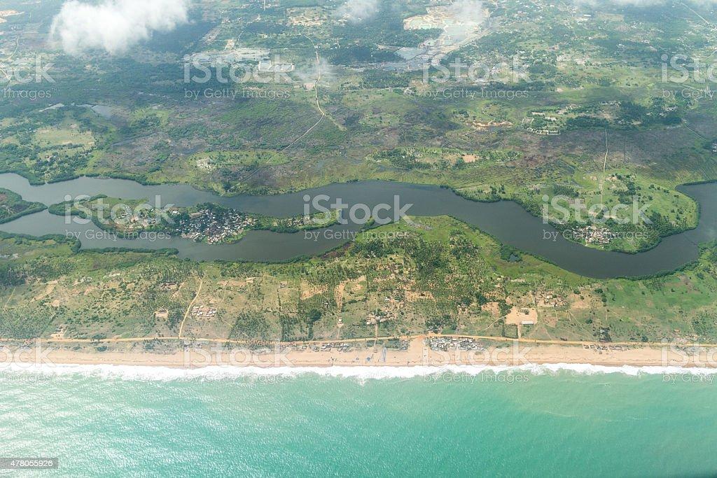 Aerial view of the shores of Cotonou, Benin Aerial view of the Atlantic Ocean coastline along the shores of Cotonou, Benin 2015 Stock Photo