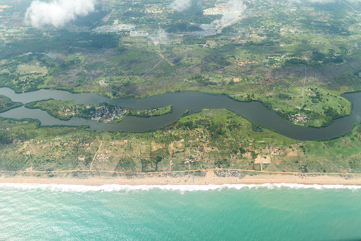 Aerial View Of The Shores Of Cotonou Benin Stock Photo - Download Image Now