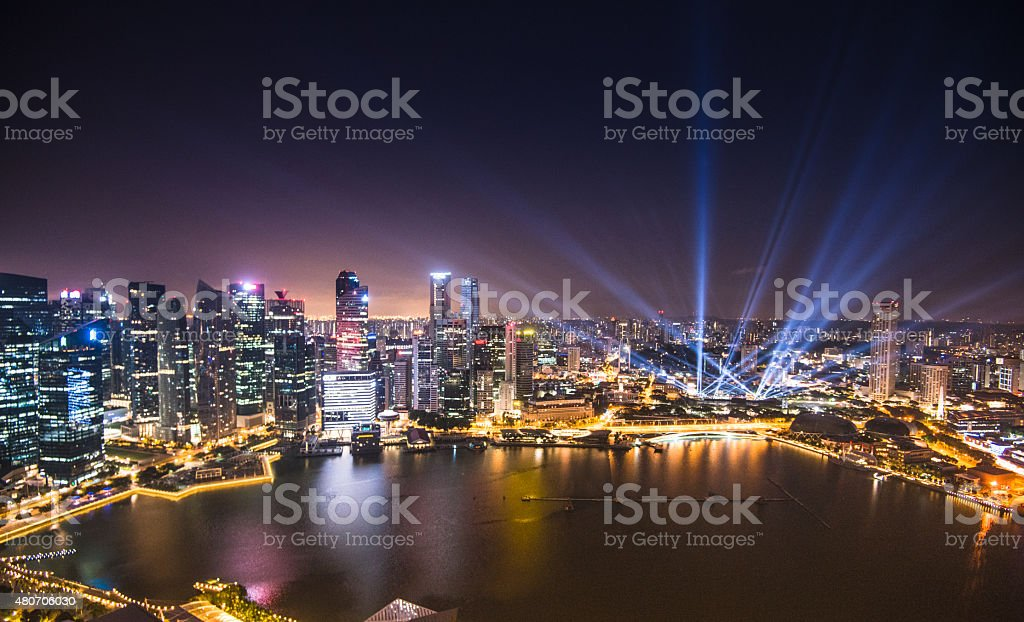 Aerial view of the Singapore Skyline stock photo