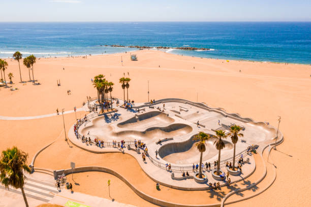 Aerial view of the skate park in Venice Beach, CA. Aerial view of the skate park in Venice Beach, CA on a beautiful sunny day. venice beach stock pictures, royalty-free photos & images