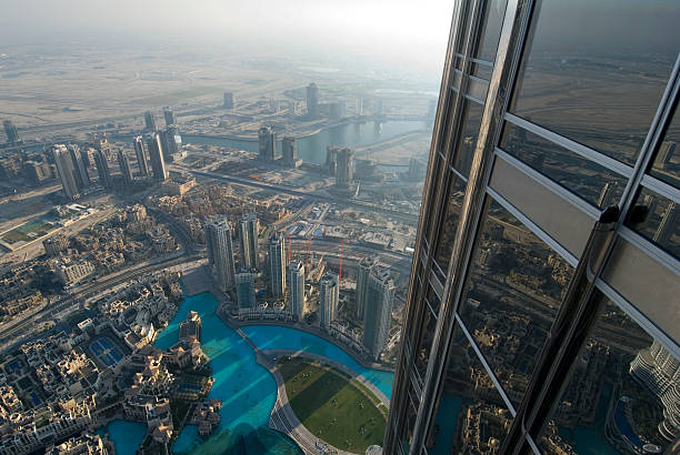 Aerial view of the Skyline of Dubai stock photo