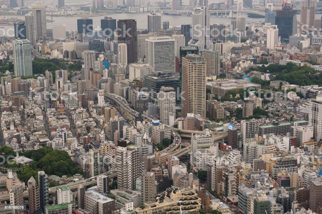 Aerial view of the Skyline of Tokyo stock photo