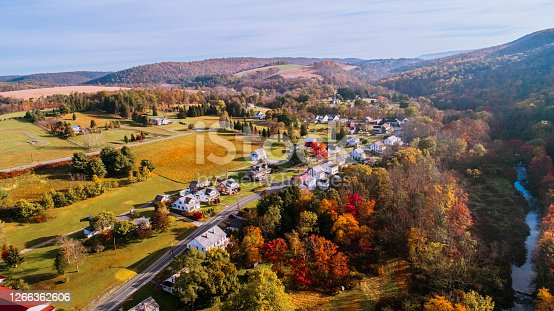 Aerial drone view on the small town Kunkletown, Poconos, Pennsylvania, in the fall.