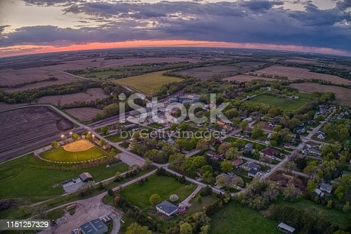 Aerial View of the small Village of Roca at Sunset in rural Nebraska