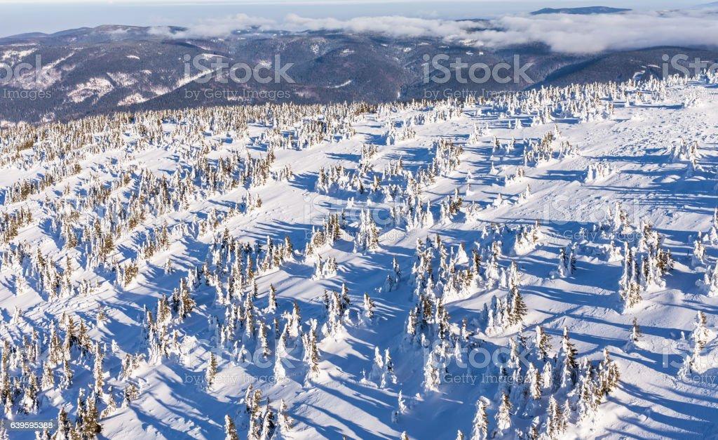 aerial view of the Snieznik mountain in  Poland stock photo