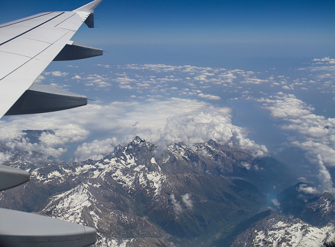 Aerial view of the snowcapped Alps