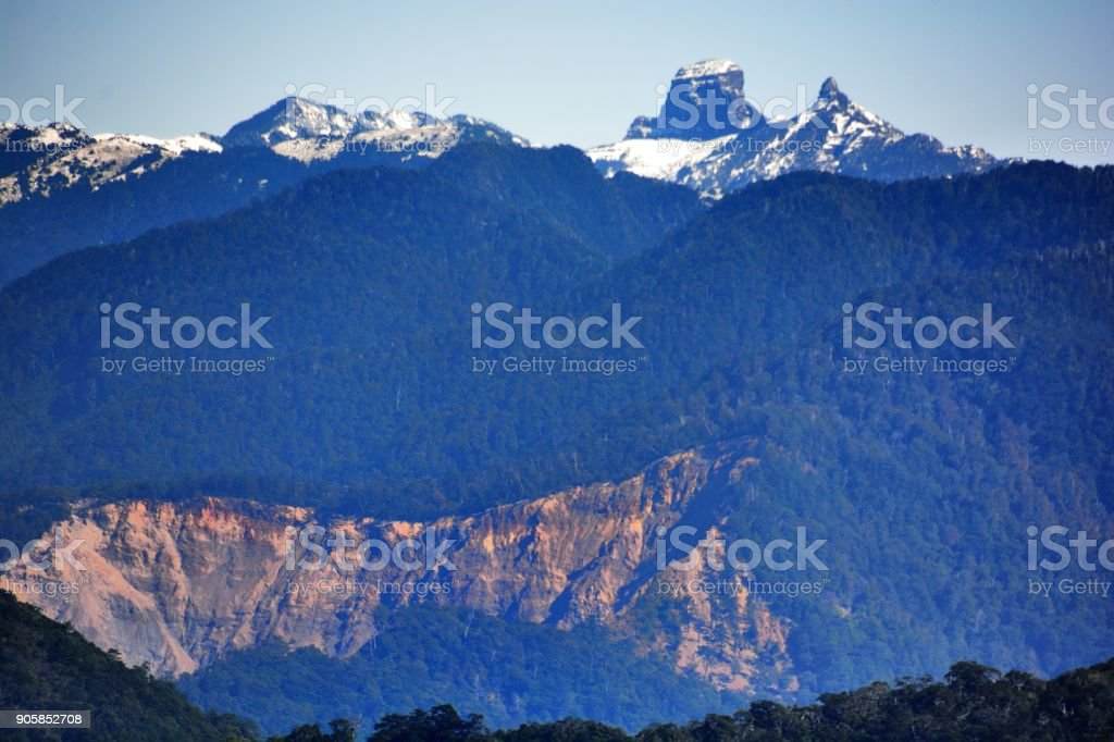 Aerial view of the snow-capped mountains stock photo