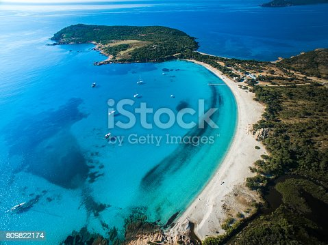 istock Aerial View of the Splendid Rondinara Beach, Corsica, France 809822174