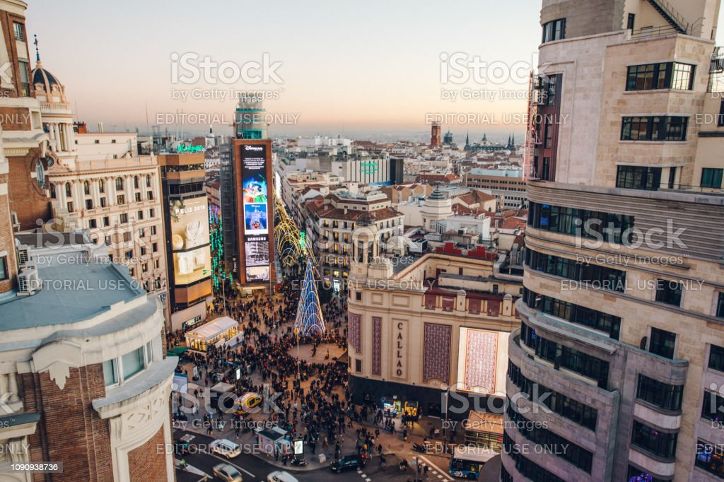 aerial view of the square near Gran Via stock photo