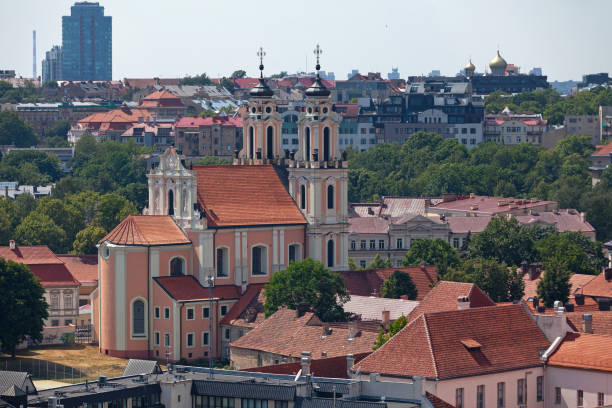 Aerial view of the St. Catherine's Church in Vilnius stock photo