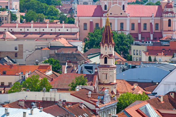 Aerial view of the St. Nicholas Church in Vilnius stock photo