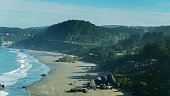 Drone shot of the dramatic coastline at Lone Ranch Beach near Brookings in Curry County, Oregon.