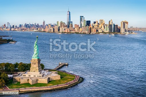 istock aerial view of the statue of liberty in front of Manhattan skyline. New York. USA 946089538