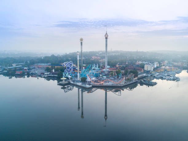 Aerial view of the Stockholm amusement and theme park Gröna Lund stock photo