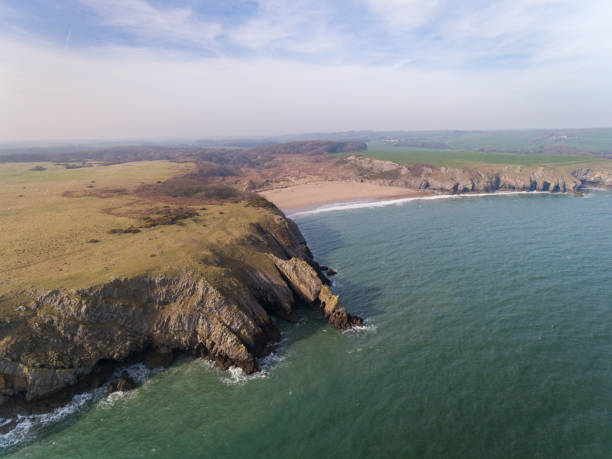 Aerial view of the stunning beach at Barafundle Bay stock photo