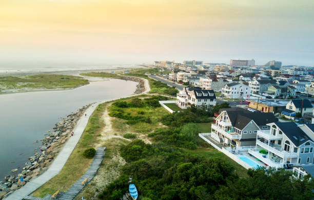 Aerial view of the sunset over North Wildwood sea wall stock photo
