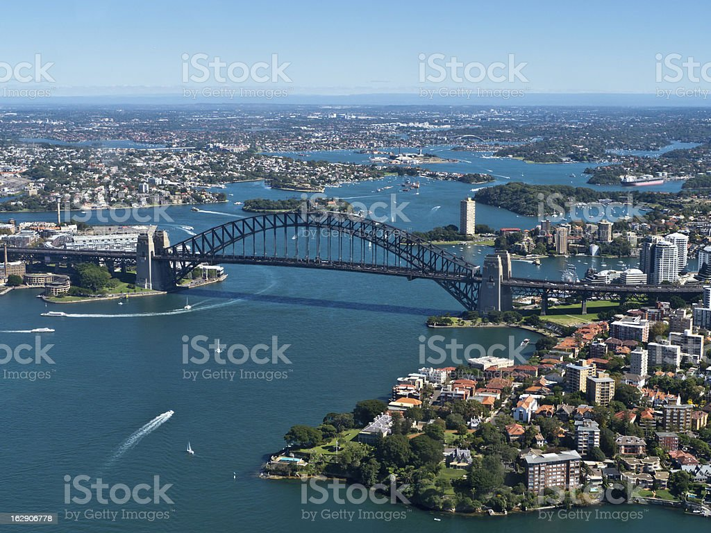 Aerial view of the Sydney Harbour Bridge in Australia stock photo