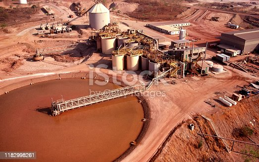 Aerial view of the tailings dam and processing plant of a Gold mine in the Northern Territory of Australia