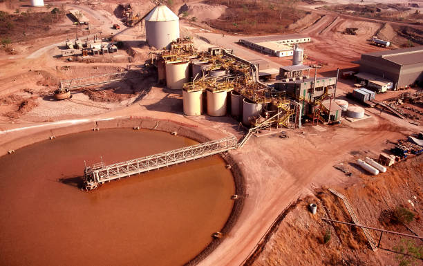 Aerial view of the tailings dam and processing plant of a Gold mine stock photo