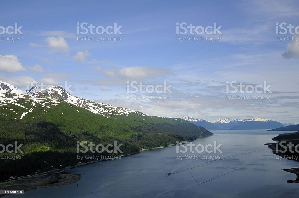 Aerial view of the Taku inlet. stock photo