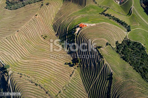 Aerial view of the terraced vineyards in the Douro Valley near the village of Pinhao, Portugal; Concept for travel in Portugal and most beautiful places in Portugal