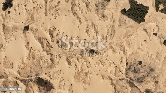 Aerial View of the Textures and Patterns of the Desert Sands. Beautiful landscape . Desert and green bushes.