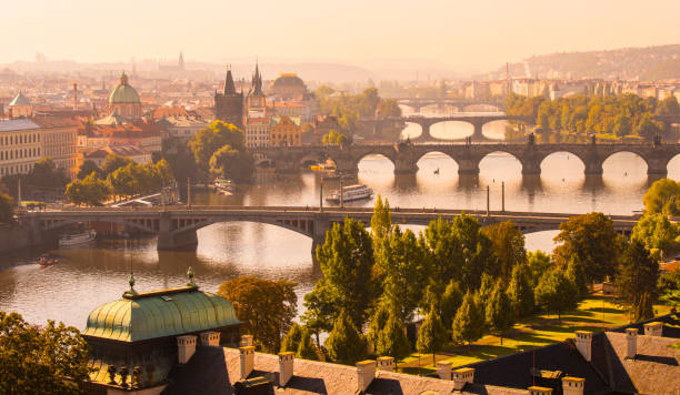 Aerial View of the the Charles Bridge and Vltava River in Prague, Czech Republic stock photo