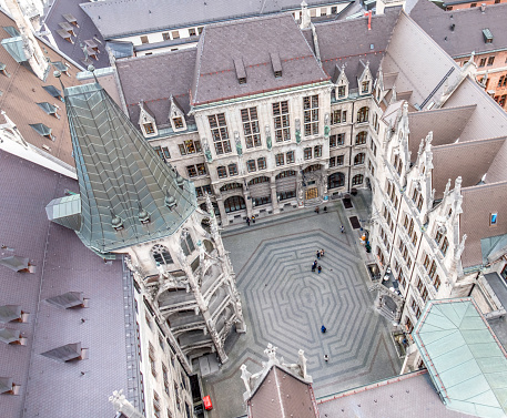 Aerial view of the the inner courtyard of the Munich townhall