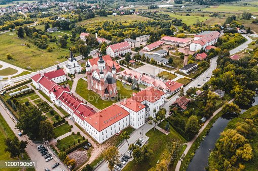 Aerial view of the The Monastery of the Annunciation in Suprasl in northeastern Poland, Podlaskie Voivodeship.