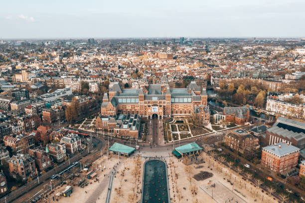 Aerial view of the The Rijksmuseum - Netherlands national museum. April 3, 2019. Amsterdam, Netherlands. Aerial view of the The Rijksmuseum. Netherlands national museum dedicated to arts and history and Van Gogh museum. museumplein stock pictures, royalty-free photos & images