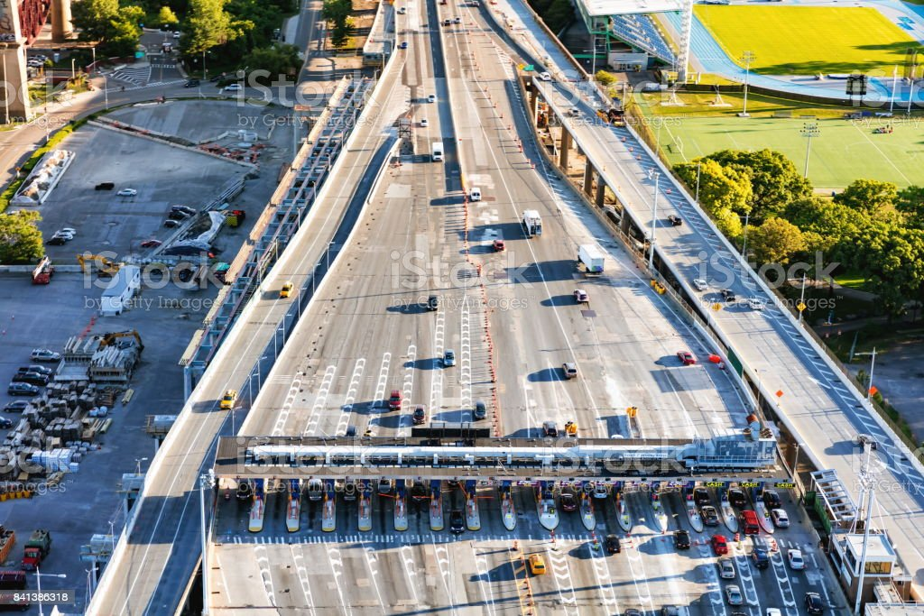 Aerial view of the the toll both on Triborough bridges on Randall's Island in NY stock photo