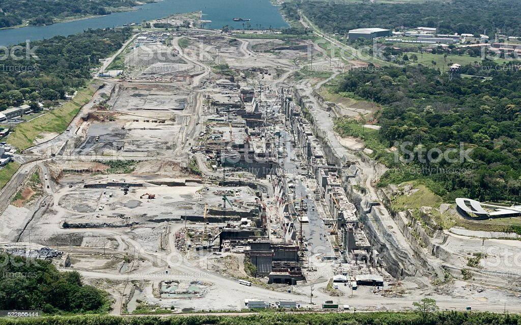 Aerial view of the Third Set of Locks construction site stock photo