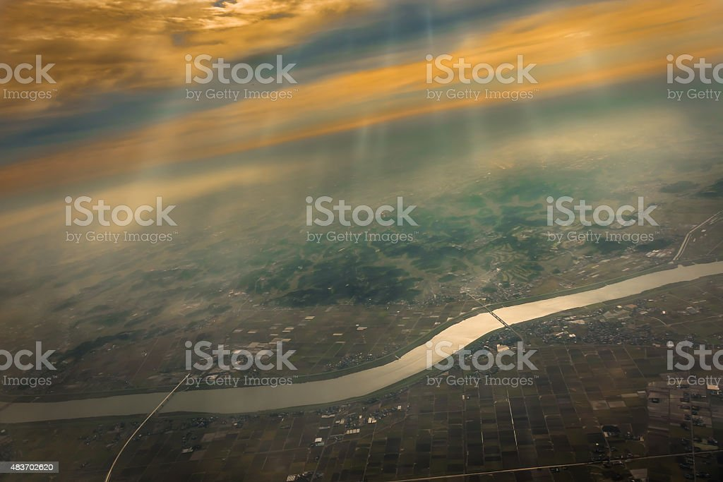 Aerial View of the Tone River stock photo