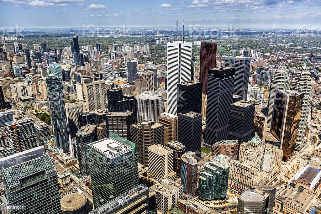 Aerial view of the Toronto skyline stock photo