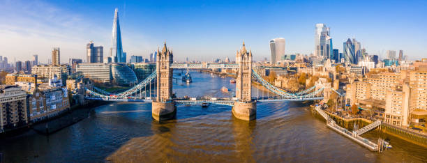 Aerial view of the Tower Bridge in London Aerial view of the Tower Bridge in London. One of London's most famous bridges and must-see landmarks in London. Beautiful panorama of London Tower Bridge. central london stock pictures, royalty-free photos & images