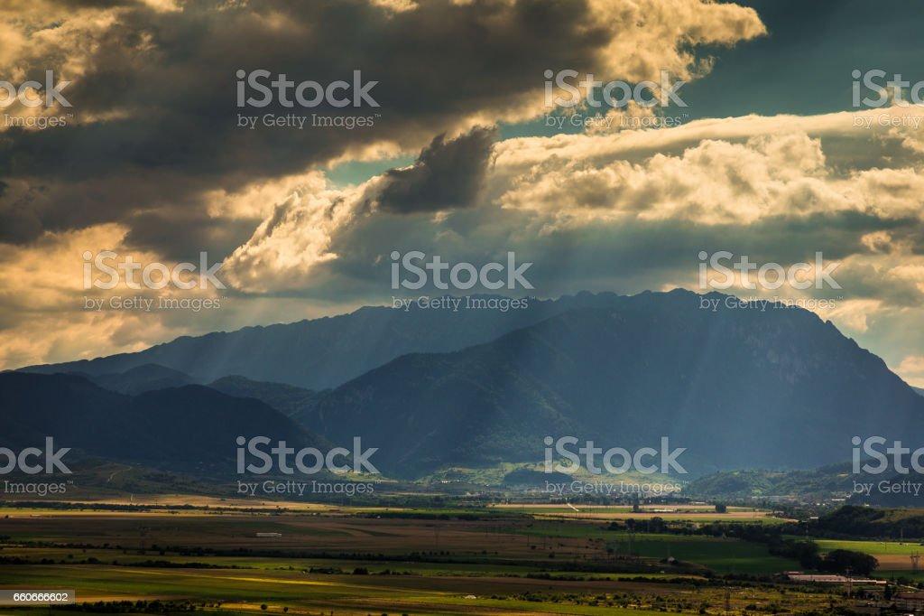 Aerial view of the town and mountains of Rasnov, Transylvania, Romania stock photo