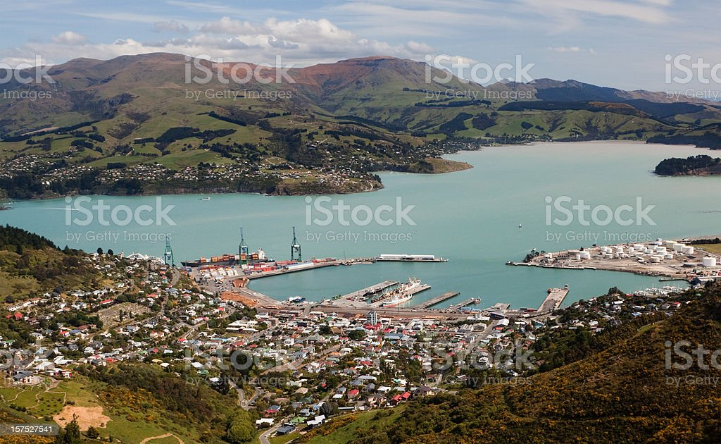 Aerial view of the town of Lyttelton, Cantebury in NZ stock photo