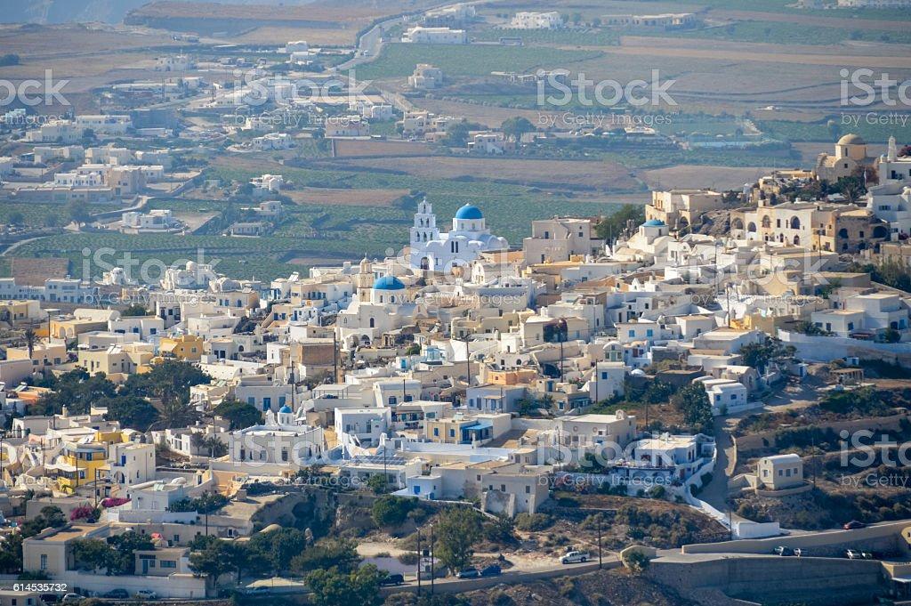 Aerial view of the town of Pyrgos on Santorini, Greece stock photo