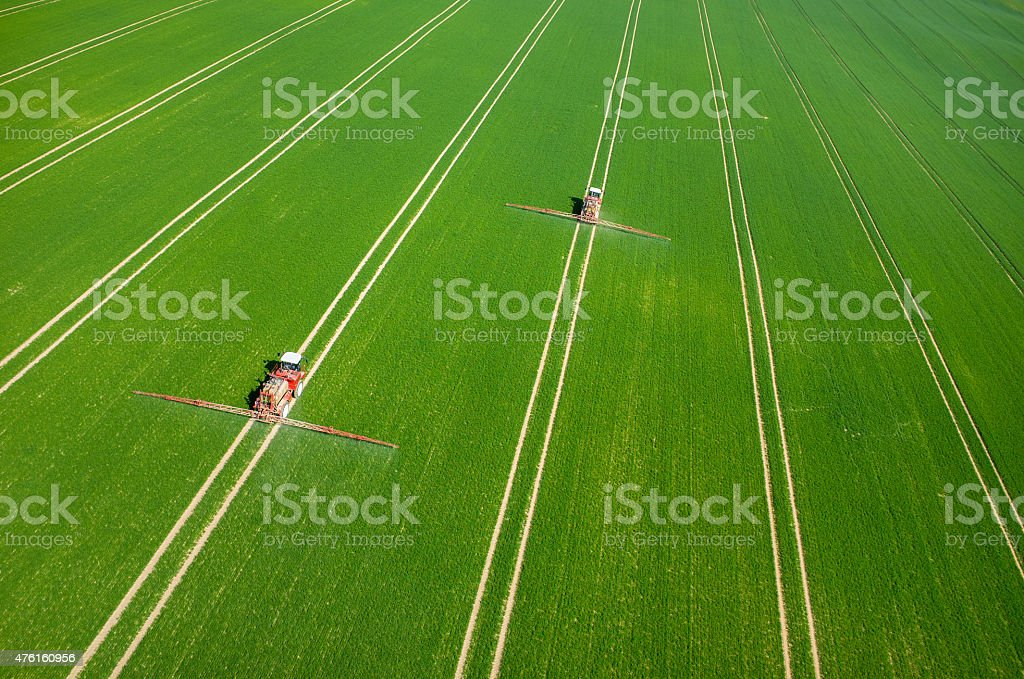 Aerial view of the tractor stock photo