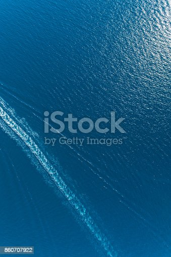 istock Aerial view of the trail on the water from the boat 860707922