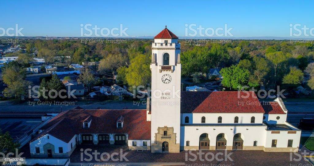 Aerial view of the train depot in Boise Idaho royalty-free stock photo