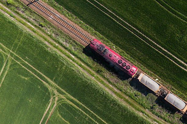 aerial view of the train on the railway track - godståg bildbanksfoton och bilder