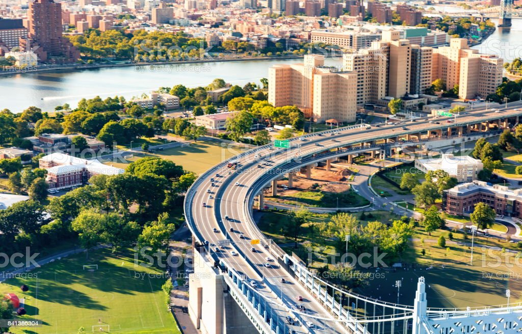 Aerial view of the Triborough Bridge on Randall's Island in NYC stock photo