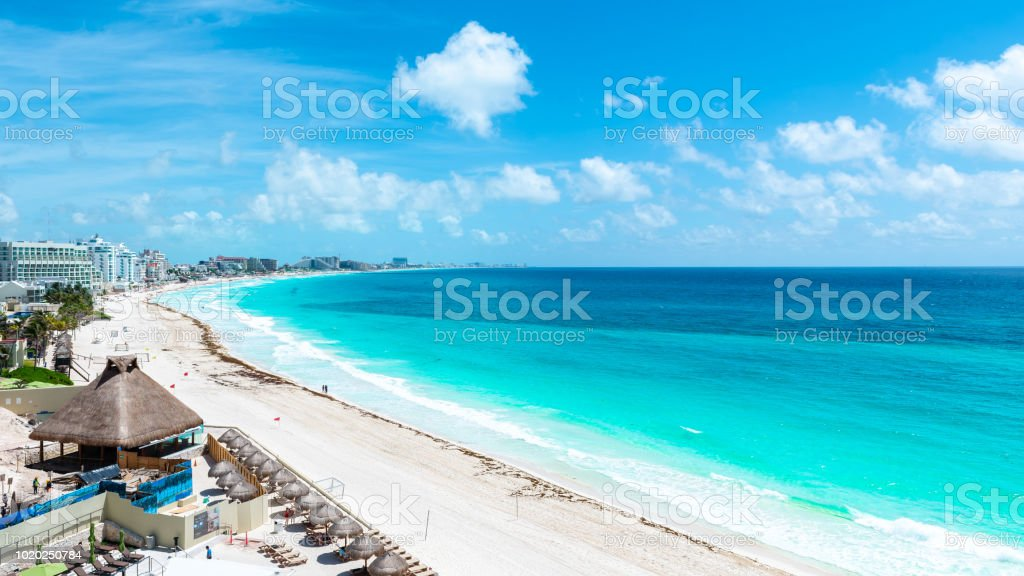 Aerial View of the tropical Caribbean beach stock photo