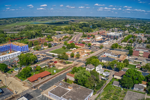Aerial View of the Twin Cities far Outer Suburb of Shakopee, Minnesota